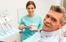 Smiling man at the dentist