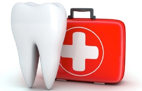 3D animated tooth with first-aid kit